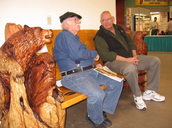Bob Gerding visits with a guest at his annual show.