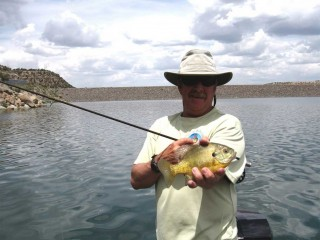Mark Nesbit shows off a Navajo Lake Bluegill