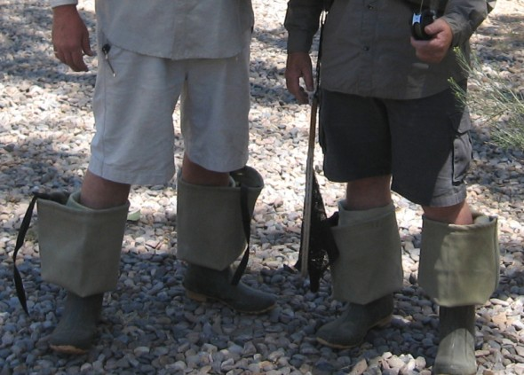 rolled down hip waders