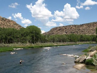 An angler fishes the habitat improvements on the San Juan River below Simon Canyon.
