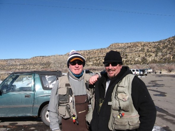 Tim McCarthy and Karl Moffatt outfitted for winter fishing on the San Juan River in northwestern New Mexico.