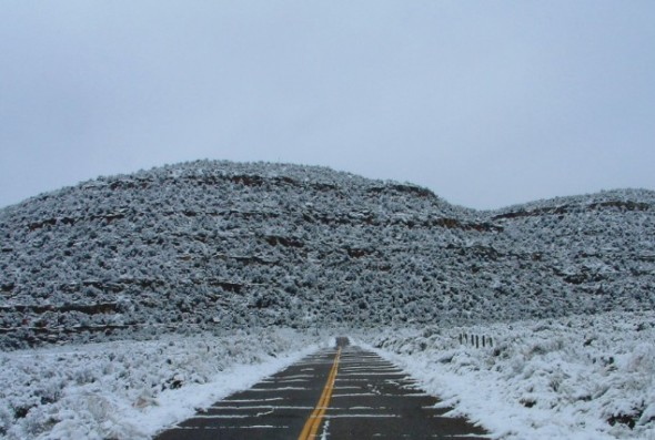 The road to the Simon Canyon day use area where snow squalls are known to bring on mayfly hatches in mid-winter.