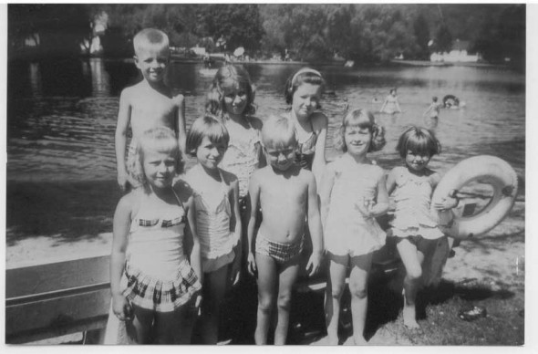 Growing up on Lake Lackawanna in the summer of 1959. From the left in the front row is Larry Johnson's twin sister, Candy, Jenny Ripp, Larry Johnson, Peggy Finnegan, and Cathy Ripp. In the rear row from the left is Steve Ripp, Karen Ripp and Carol Finnegan.