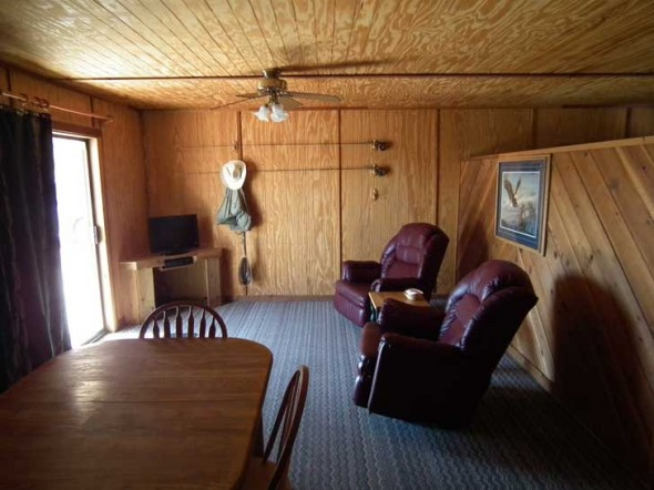 The living roon of a cabin at Soaring Eagle Lodge.