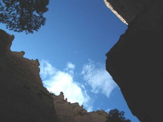 Looking up from Canyon Trail at Tent Rocks National Monument in New Mexico.