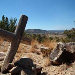 A cross erected upon the grounds of an old Spanish ruin at Villanueva State Park.
