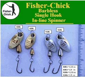 Single, barbless, spinning lures are available through the Fisher-Chick website.