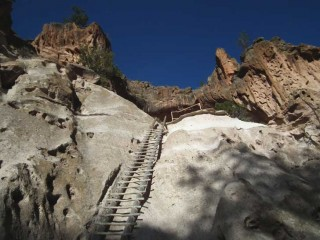 The climb to Alcove House at Bandelier National Monument requires four sets of ladders ascending some 140-feet. It's worth the view.