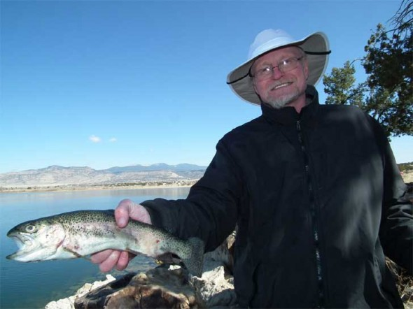 Tim Davidson of Gallup shows off a nice Rainbow from Acomita Lake.