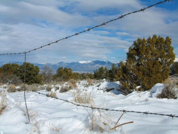Snow capped peaks over Taos, New Mexico.