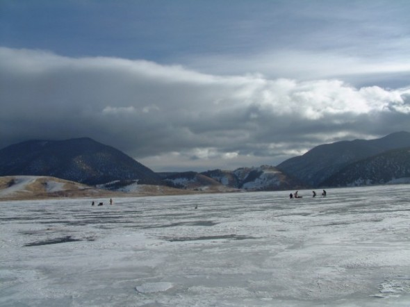 Anglers on the ice at Eagle Nest Lake NM