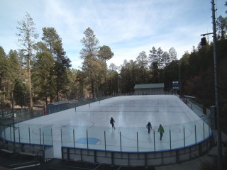 The regulation size rink at Los Alamos County hosts hockey leagues for all ages.