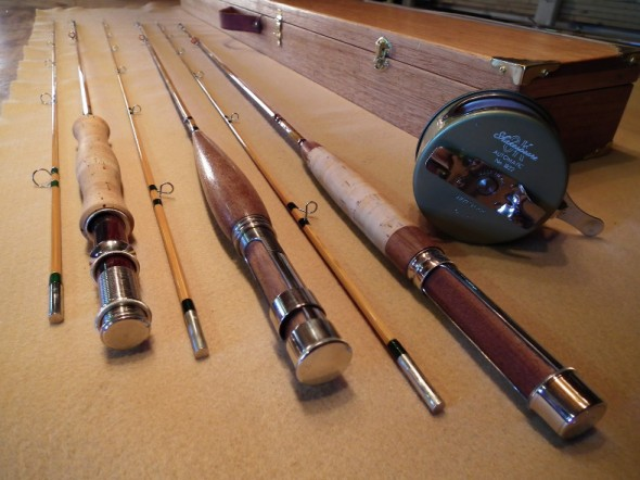 A selection of rod hand crafted by Bruce Smith of SweetRock RodSmiths.