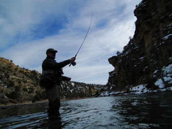 Angler casting in the shadow of a cliff  while fishing in the winter on the Chama river in northern New Mexico.