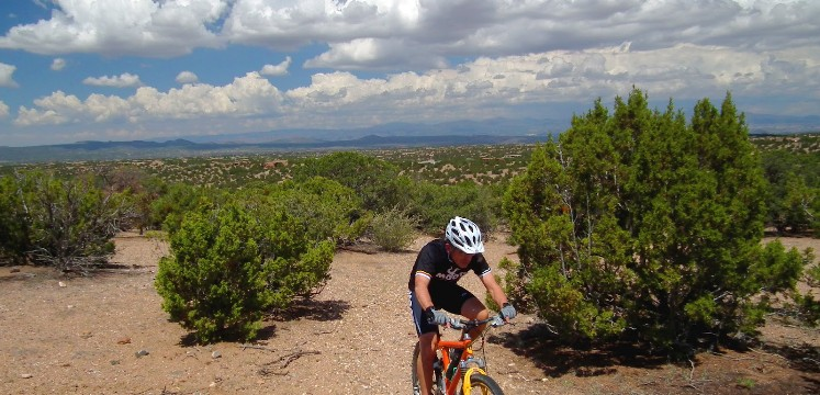 mountain biker on new mexican trail