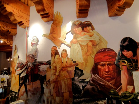 The lobby of the Pecos National Historical Monument features big murals that help depict the history of the state.
