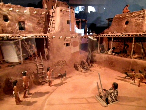 A diorama inside the museum, depicts how the pueblo was built much like a modern condominium complex.