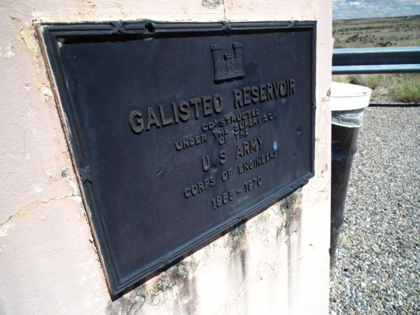 a historical marker at Galisteo Dam in New Mexico