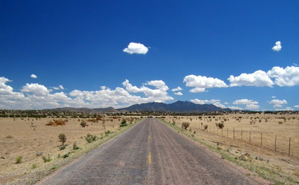 The road to Galisteo Dam is remote and provides a fine view of the Ortiz Mountains off in the distance.