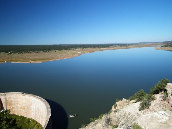 Bluewater dam and lake as seen from overlook