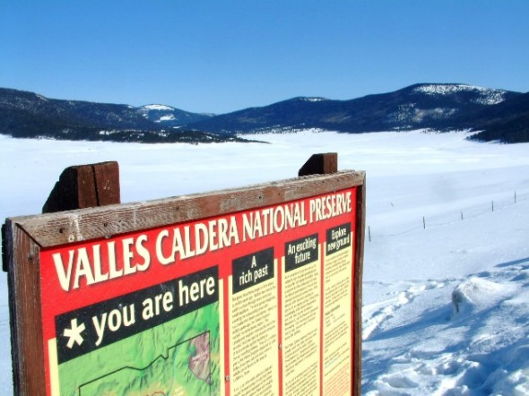 Valles Caldera National Preserve sign overlooking the meadows seen from NM 4.