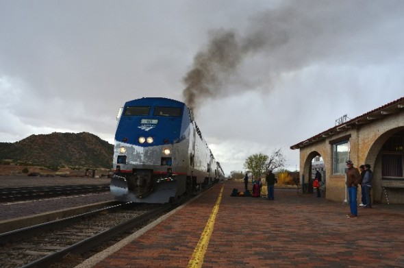 Amtrak train rolls into Lamy NM.