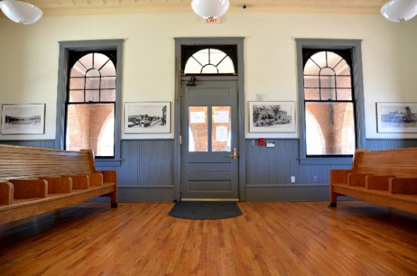The waiting room of the restored Amtrak train station in Las Vegas NM.