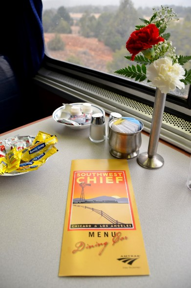 Dining table and menu on Amtrak's Southwest Chief line.