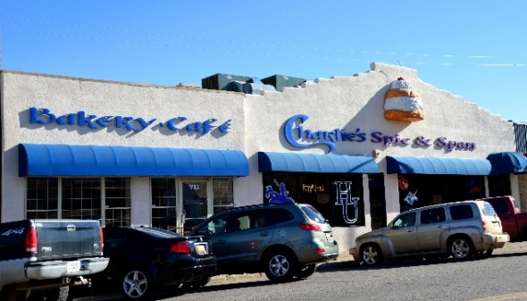 Exterior of Charlies Spic and Span Restaurant in Las Vegas NM.