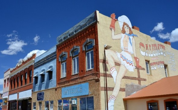 Advertisement mural on side of building