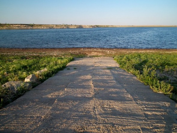 Exposed boat ramp at lower Charette Lakes.