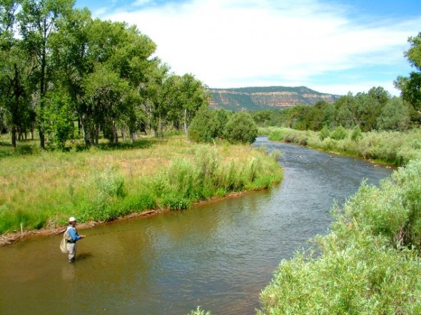 An angler on the Pecos River at the Pecos National Historical Monument.