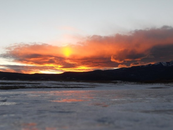 A sunset over a lake somewhere in New Mexico.