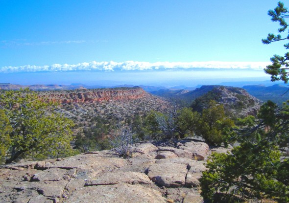 View of the Rio Grande Valley from Deer Trap Mesa near Los Alamos.