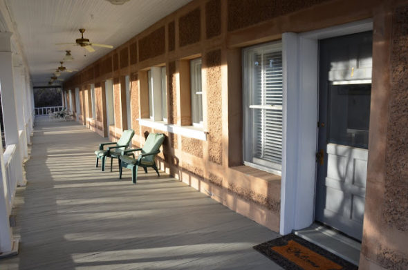Porch of Historic Lodge at Elephant Butte Lake