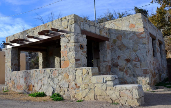 Restored rock cabin at Elephant Butte Lake